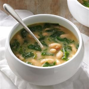 """Spinach & White Bean Soup Recipe -For me, soup is love, comfort, happiness and memories. With all its veggies and beans, this one appeals to my """"kitchen sink"""" style of cooking. —Annette Palermo, Beach Haven Park, New Jersey"""