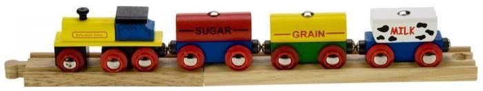 Tren de Mercancías (cereales);  Los vagones de madera de este precioso tren cuentan con cargas desmontables que se pueden levantar con una grúa magnética Bigjigs.   Se suministra con dos piezas de madera de vía. Los acoplamientos magnéticos garantizan la compatibilidad con todos los demás motores y vagones de Bigjigs.... En http://www.opirata.com/tren-mercancias-cereales-p-26891.html
