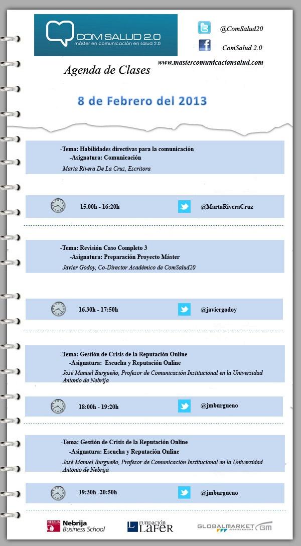 Agenda 8 de Febrero del 2013 - Máster en Comunicación en Salud 2.0 (ComSalud 2.0)