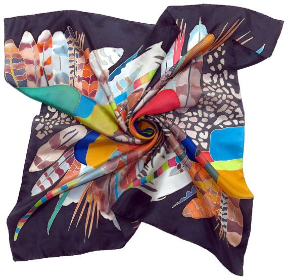 Silk scarf Africa dance in Spring Night. Hand painted by SilkMood