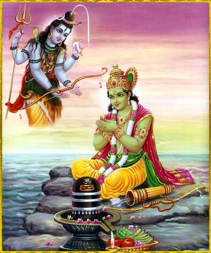 arjuna receive weapons from lord Shiva