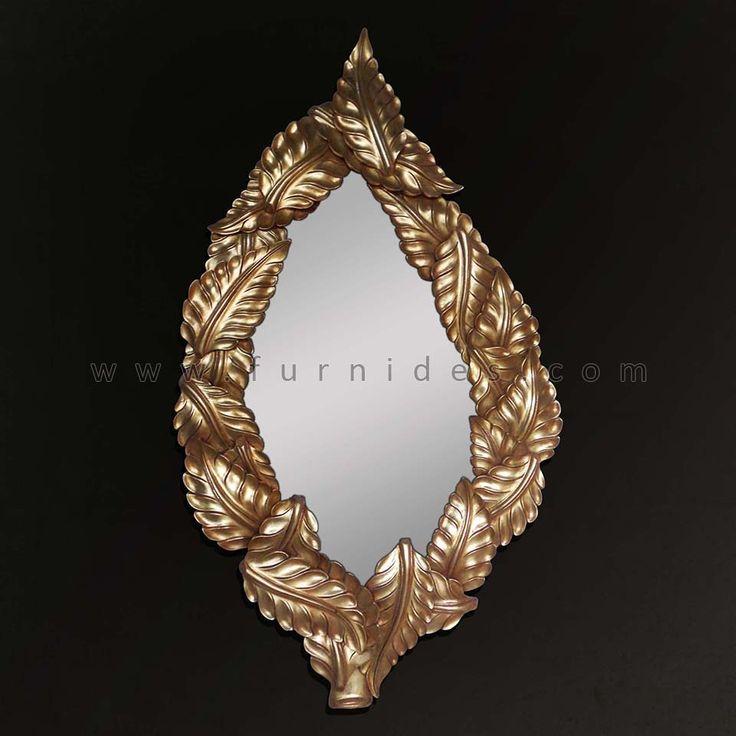 Hiasan Dinding Bingkai Cermin Ukiran Daun | FurniDes.Com