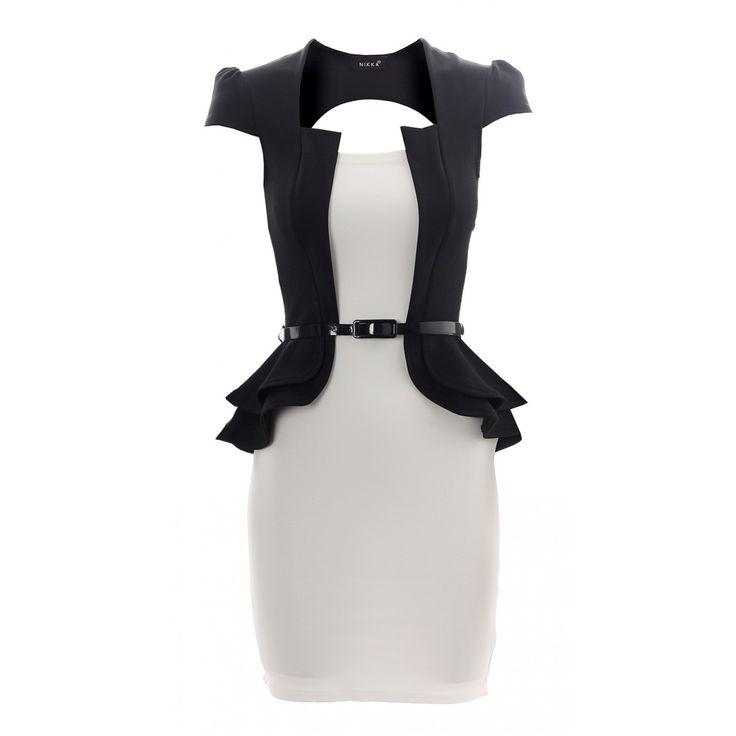 Vestito peplo nero e bianco
