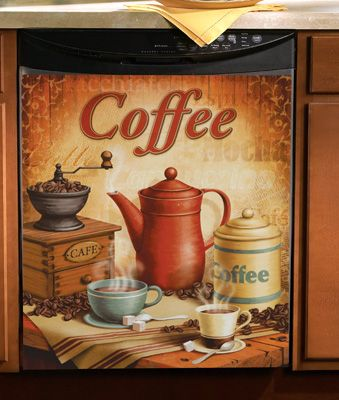 Vintage Coffee Kitchen Magnetic Dishwasher Cover - or the side of the refrigerator