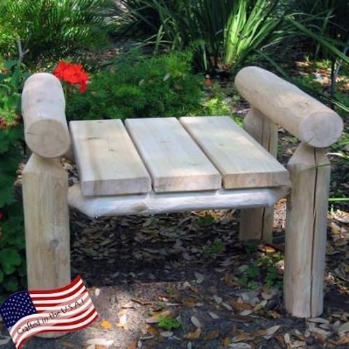 Cedar-Log-Ottoman-Wooden-Outdoor-Footrest-Patio-Furniture-Natural-Yard-Rustic
