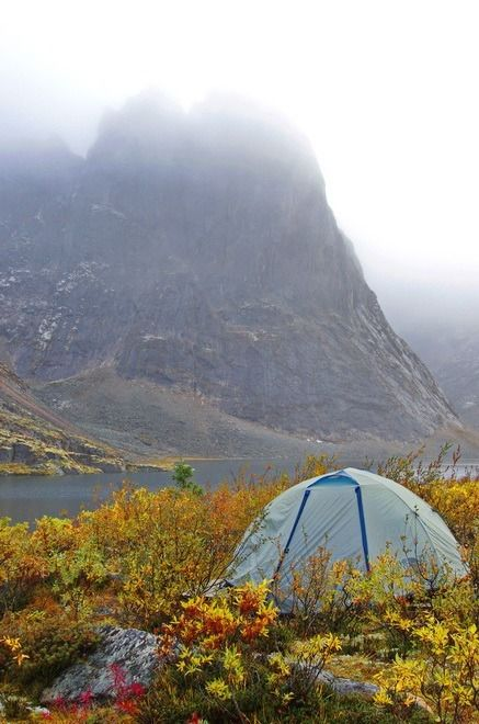 Camping beside Divide Lake in the tombstone Mountains, Yukon Territory