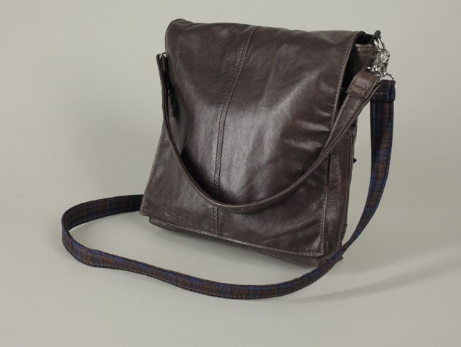 Brown recycled leather bag with two straps from Rio Branner www.riobranner.etsy.com