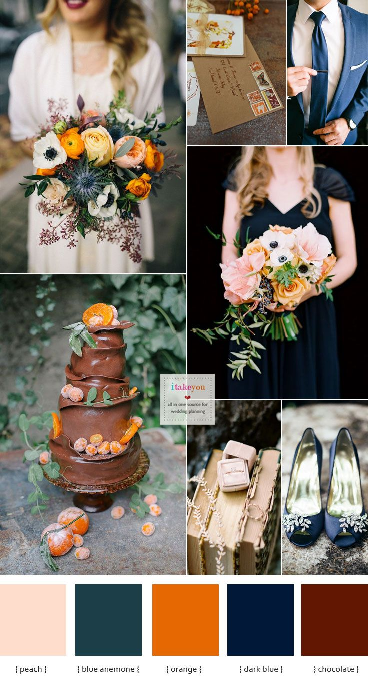 Hint of peach + Blue Anemone + Dark Blue +Chocolate Brown and orange wedding theme | itakeyou.co.uk #autumnwedding