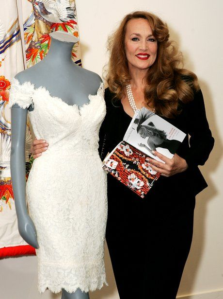 Jerry Hall with the Antony Price creation she wore the day she married Mick Jagger in 1990