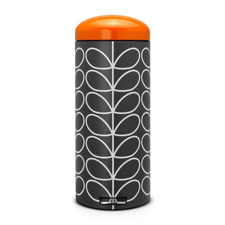 Brabantia Poubelle retro bin silent 30 litres Orla Kiely Charbon couvercle orange: Amazon.fr: Cuisine & Maison