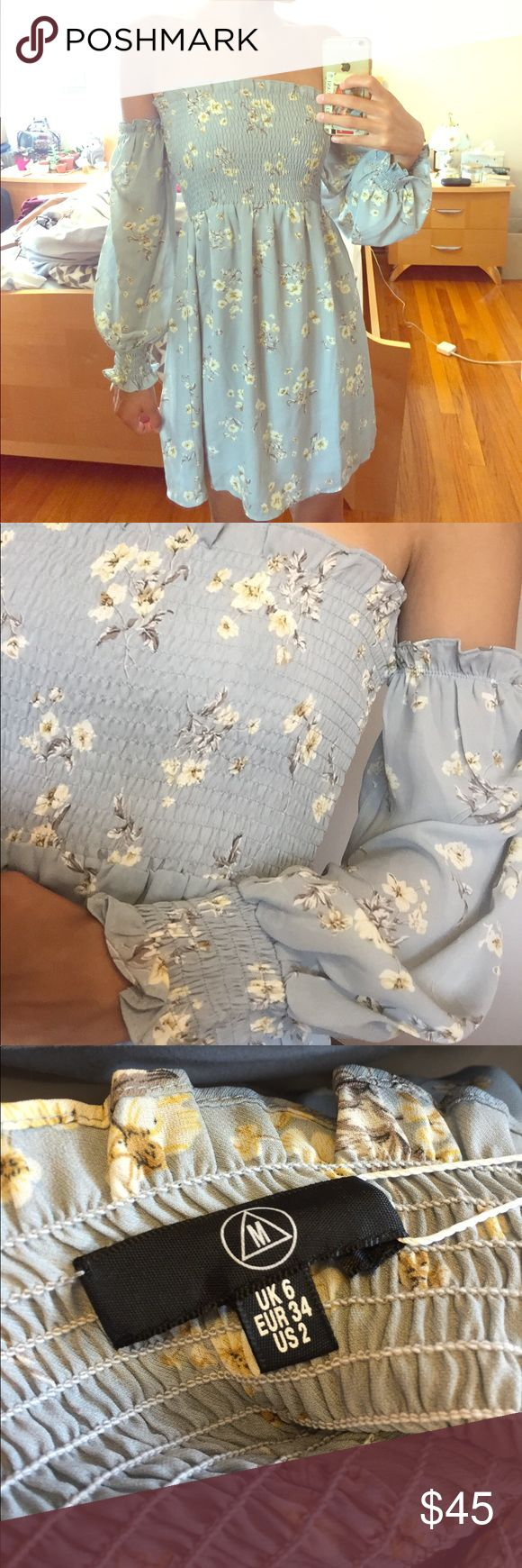 Misguided blue off the shoulder floral dress Never before worn long sleeve dress from misguided. US size 2. Blue with a beautiful floral print and ruched bodice. Missguided Dresses Mini