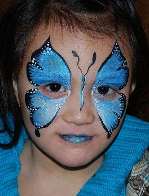 #Blue butterfly face painting design    http://makinbacon.hubpages.com/hub/butterflyfacepaintingchildrentutorialsvideosphotoshalloween