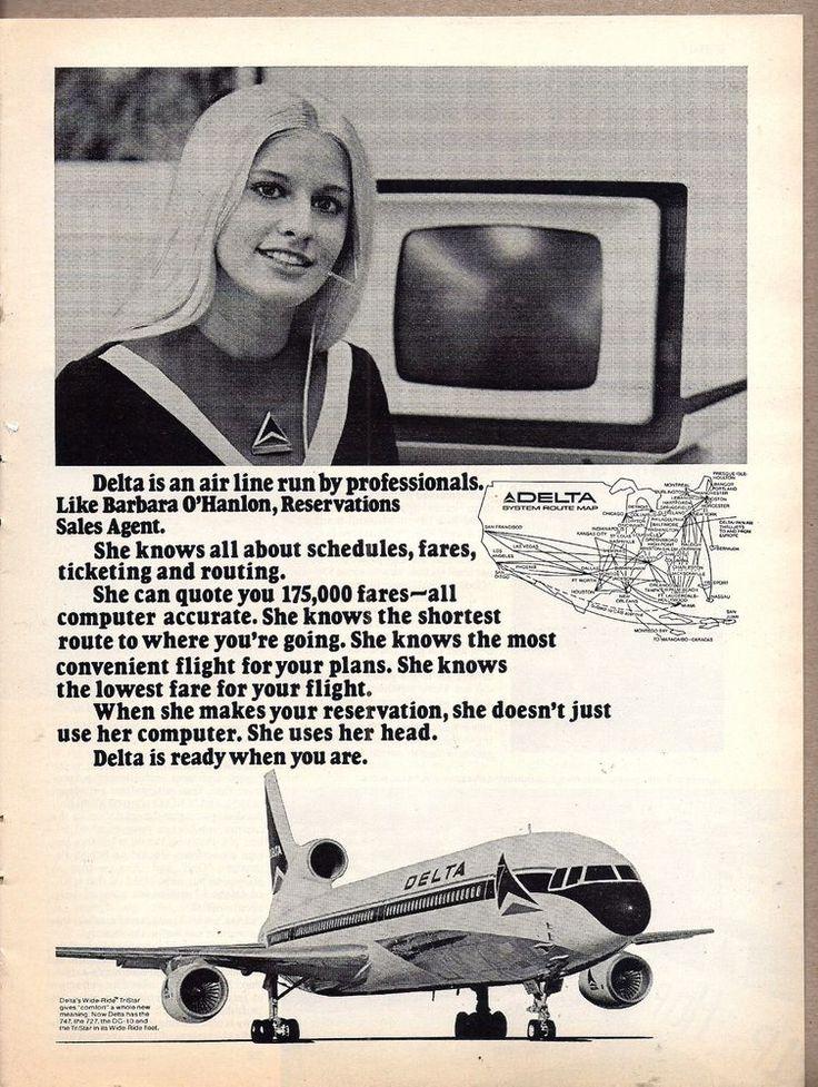 1974 DELTA AIRLINES Reservations Sales Agent Barbara O'Hanlon TriStar L-1011 AD