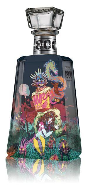 Botellas de tequila ilustradas con mucho arte