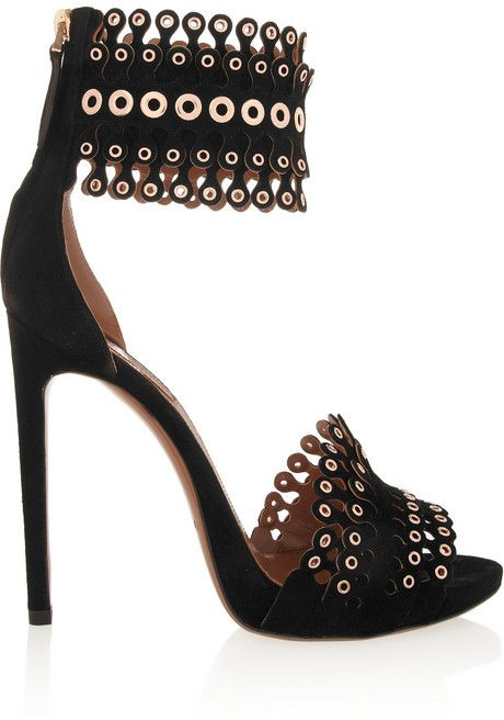 Azzedine Alaia Embellished Suede Shoes Black Embellished