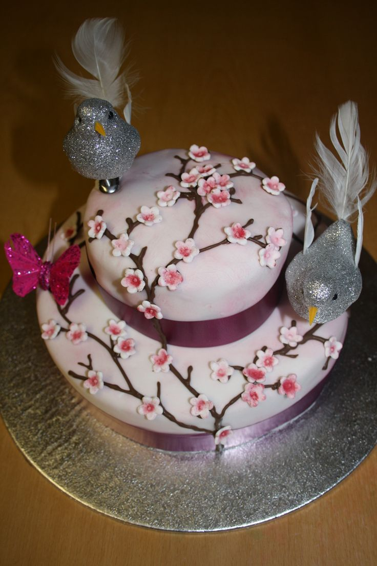 Cherry Blossom Birthday Cake For Mam S 2017 Bottom Layer Of Vanilla Sponge With