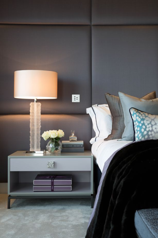 UPHOLSTERED HEADBOARD | th2 Designs.© Cushions, fabric, styling, interior, bedroom scheme