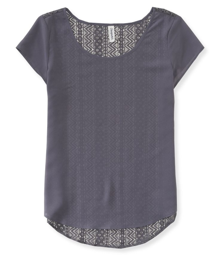 Sheer Chiffon Lace-Back Top from Aeropostale