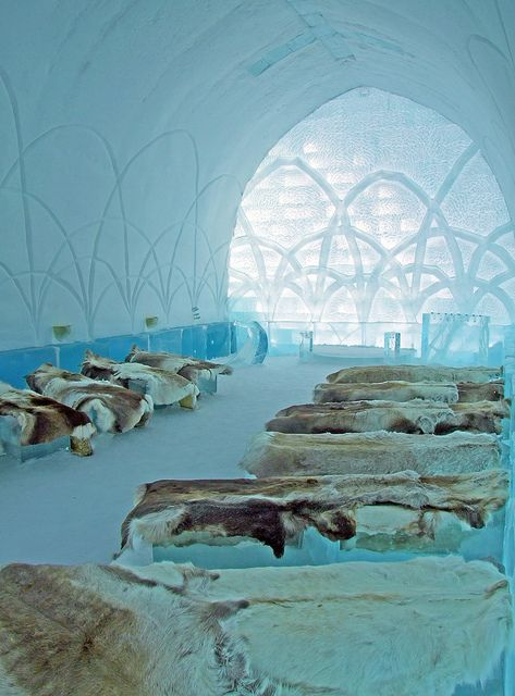 "Ice Church at Ice Hotel, Sweden.  This will be the site of our destination ""wedding""/vow renewal in 2014.  Friends, get ready."