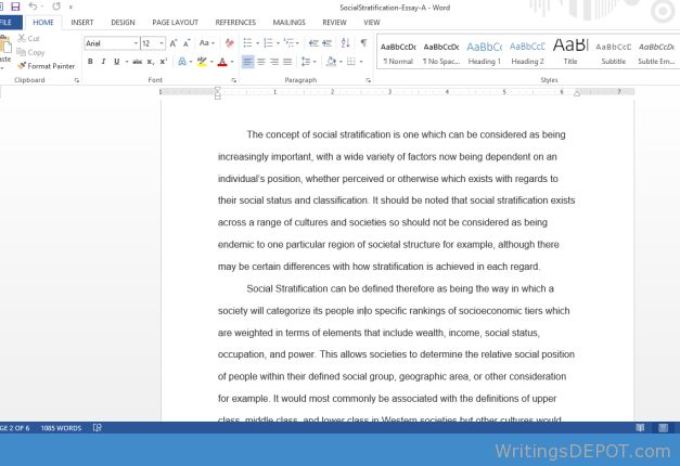 Download: http://writingsdepot.com/downloads/social-stratification-essay/ Write a 1,000-1,250-word essay in which you: Define and characterize social stratification. Include the character of class society including estate systems and social castes. Define and characterize distributive systems, and describe the relationship between social stratification and economic stratification. Explain how political power is associated with social and economic stratification.