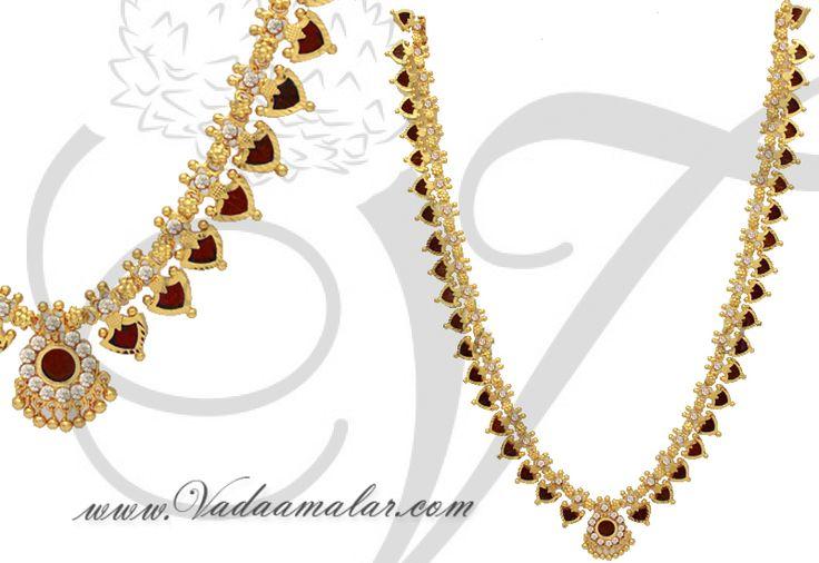 Traditional Red Palakka Mango Mala Long Haaram Necklace Kerala Jewellery