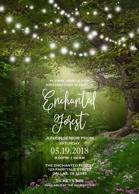 f44521f1456 Enchanted Forest Prom Invitation With String Lights