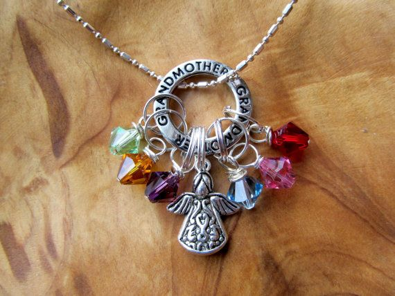 MOTHERS DAY - GRANDMOTHER - All my Angels Family Birthstone Charm necklace, Personalize - Choose any swarovksi crystals, Great  Holiday gift on Etsy, $26.00