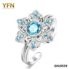 Gnj0559 2015 Anel genuino 925 Sterling Silver Blue Sapphire CZ de la joyería del copo de nieve anillo de compromiso para mujeres de la joyería(China (Mainland))