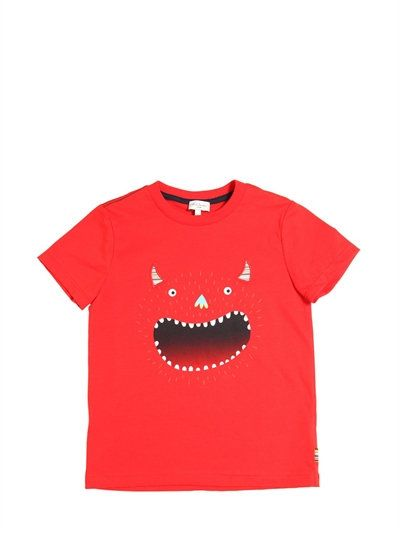 PAUL SMITH JUNIOR - MONSTER PRINTED COTTON JERSEY T-SHIRT - RED