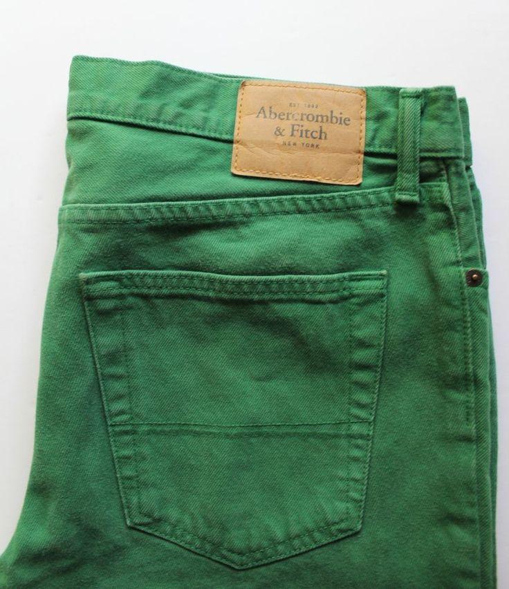 Men's Abercrombie & Fitch Skinny Slim Jeans Pants Green Button Fly Size 34x32 #AbercrombieFitch #SlimSkinny