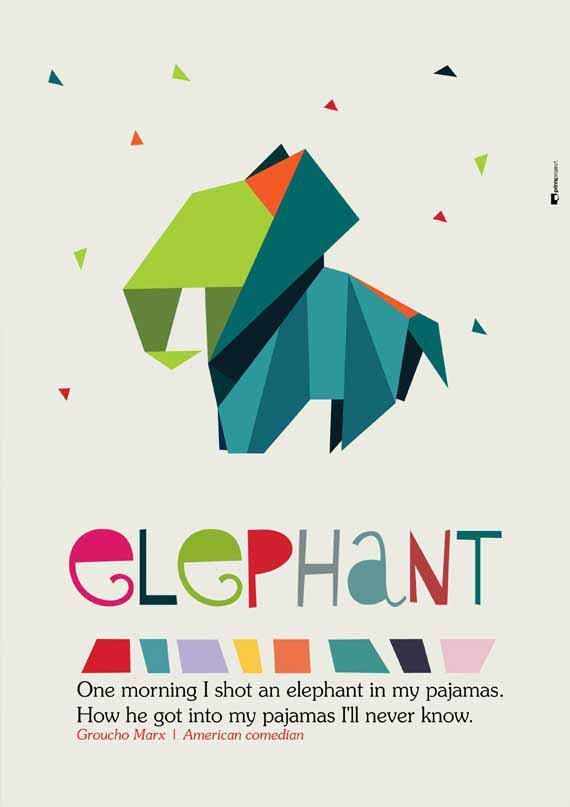 "Origami Elephant Print, Nursery and Kids Wall Art. Quote Poster: ""One morning I shot an elephant in my pajamas. How he got into my pajamas I'll never know."" - Groucho Marx, American comedian ❤ #nurseryart #kidsposter #graphicdesign #illustration by #PrintsProject"