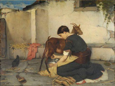 Νικόλαος Βώκος-Το άρμεγμα της κατσίκας 1895