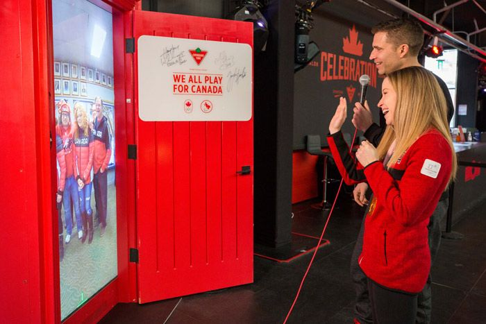 Canadian Tire's Red Door: Canadian Tire, a national partner of Canada's Olympic team, brought back its Red Door activation, which debuted at the Rio Olympics in 2016. Part of the brand's We All Play for Canada Olympic campaign, the life-size physical door offers a live stream interaction that connects friends and fans in Canada with Olympians and Paralympians in Pyeongchang. Wondermakr produced the activation.