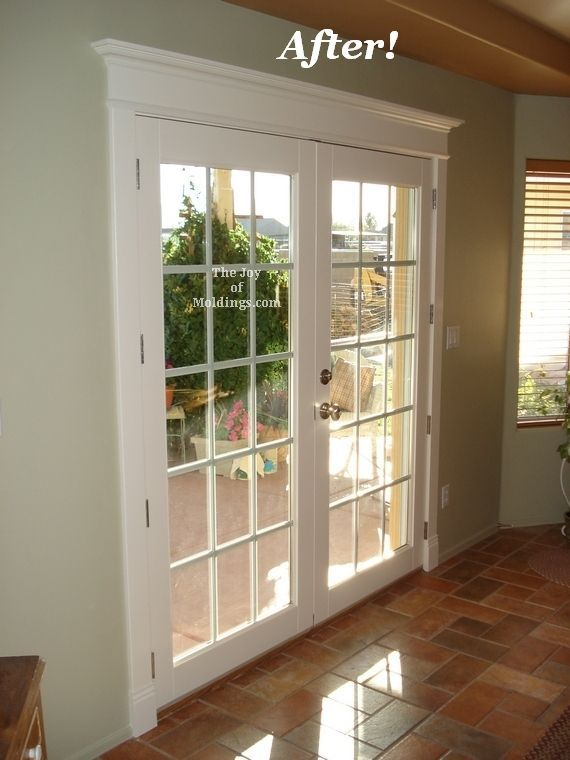 gap above patio door ideas | After Patio Door Painted Door Trim Installation. Add height to slider doors.