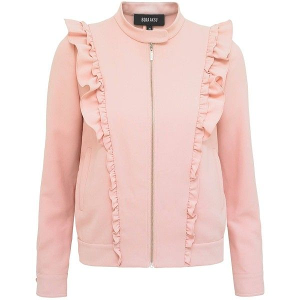 Bora Aksu - Pink Frill Jacket (34.280 RUB) ❤ liked on Polyvore featuring outerwear, jackets, pink moto jacket, moto jackets, pink motorcycle jacket, pink biker jacket and pink jacket