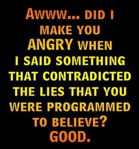 Did I make you angry when I said something that contradicted the lies that you were programmed to believe?