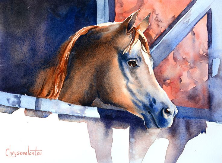 Artwork of horse in stable in watercolor