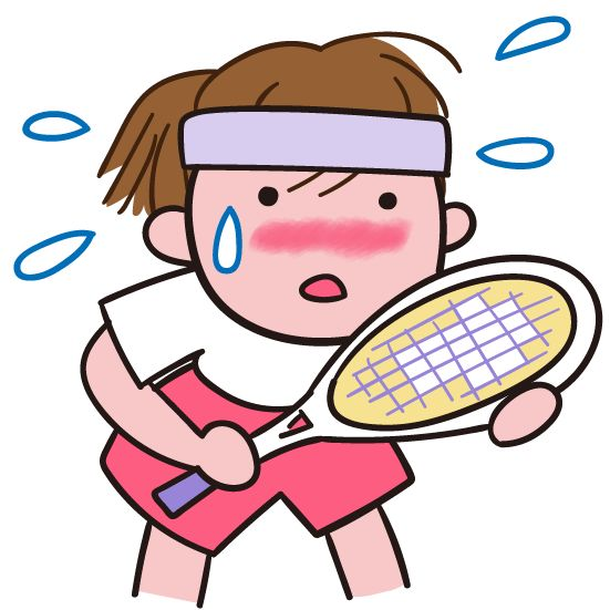 汗 真夏の汗 汗をかいてスポーツ テニス イラスト素材