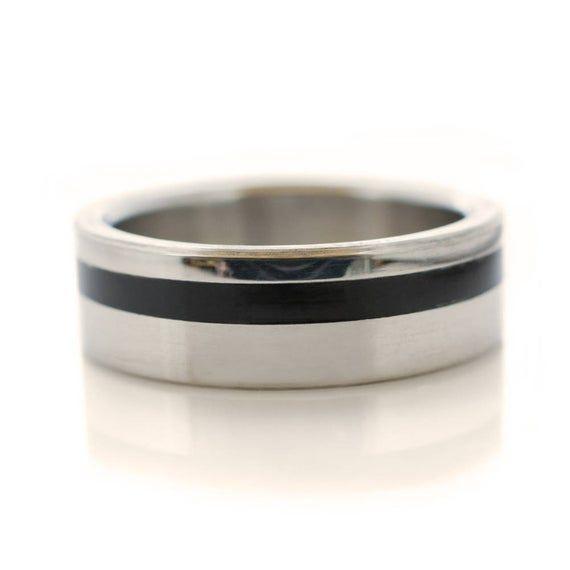 Mens Ring Dark Mens Wedding Ring Mens Promise ring for him. Handmade Smoked Eucalyptus Ring Band