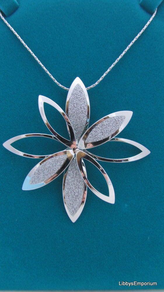 Indulgence Sliver Plated Large Glitter Flower  Necklace 531