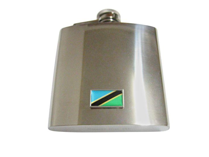 Thin Bordered Tanzania Flag Pendant 6 Oz. Stainless Steel Flask