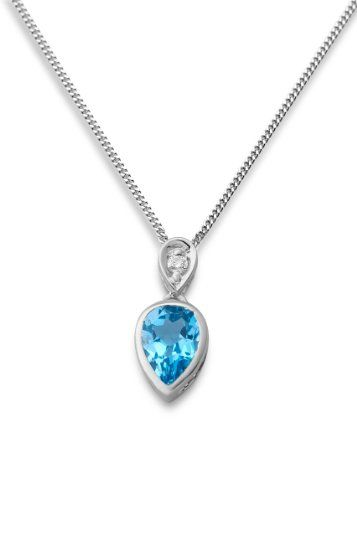 Miore white gold necklace with blue topaz for our 3rd anniversary <3