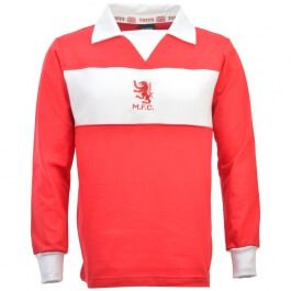 Middlesbrough 1970s Retro Football Shirt This shirt was worn between 1973 and 1976, a similar design was used for the rest of the 1970s, although the embroidery was switched to red. http://www.MightGet.com/may-2017-1/middlesbrough-1970s-retro-football-shirt.asp