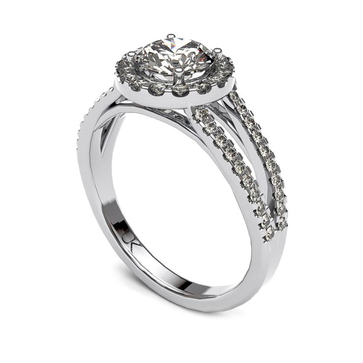 Diamond halo ring with diamond split band.    www.uwekoetter.com