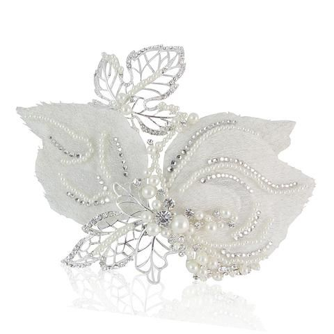 Lucy Elegant Crystal & Pearl Bridal Hair Comb