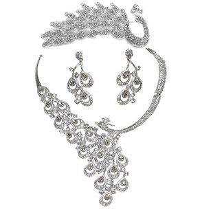 3 Sets-de nieuwe full-diamanten tiara ketting pauw bruiloft accessoires bruids sieraden driedelig pak