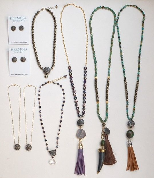Custom Necklaces and earrings | Air Force jacket buttons | Repurposed buttons | Hermosa Jewelry Charleston SC