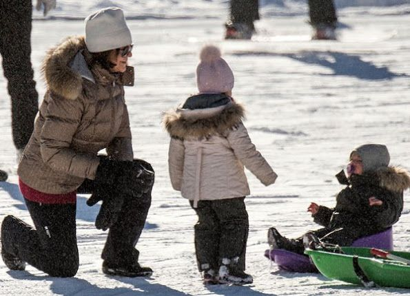 New photos of Queen Silvia and Princess Madeleine of Sweden, Christopher O'Neill, Princess Leonore and Prince Nicolas of Sweden during on the winter holiday at ski center in Verbier village of Switzerland.