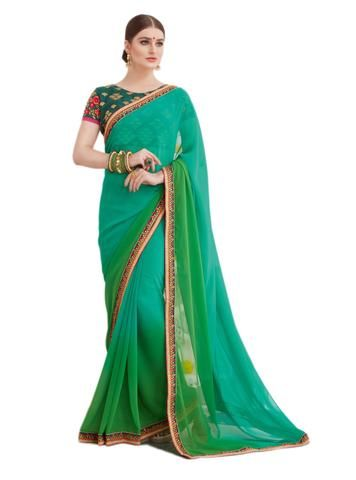 00b70c9e0e Sea Green and Green Color Georgette Saree - PRN1114 #sarees #sari #look #