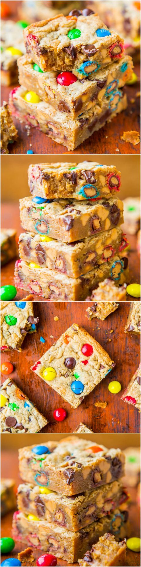 Triple Peanut Butter Monster Cookie Bars - Soft, gooey bars loaded with M&Ms, chocolate and made for serious peanut butter lovers!